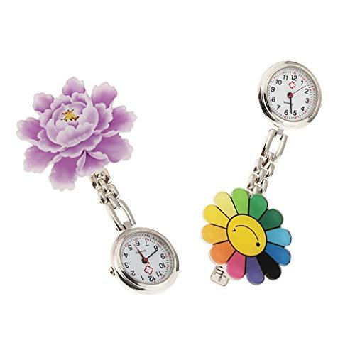 2stk Schwesternuhr Schwesternuhren mit Clip Krankenschwesteruhr wunderschön Blumen Design, Quarzwerk