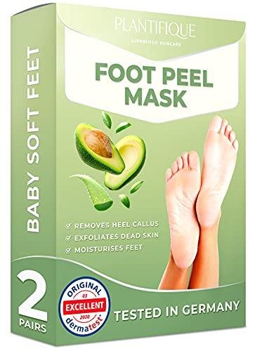 Fußmaske Avocado Hornhaut Socken von Plantifique - Foot Peel Mask Hornhautentferner Socken - Wirksam bei Schwielen, Abgestorbener und Trockener Haut - Tief Rissige Fersen Reparat - 2 Paare
