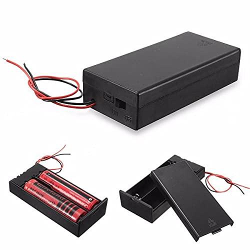 WZhen Caja de almacenamiento de plástico titular de la batería caja contenedor interruptor de encendido/apagado para 2X18650 baterías 3.7V