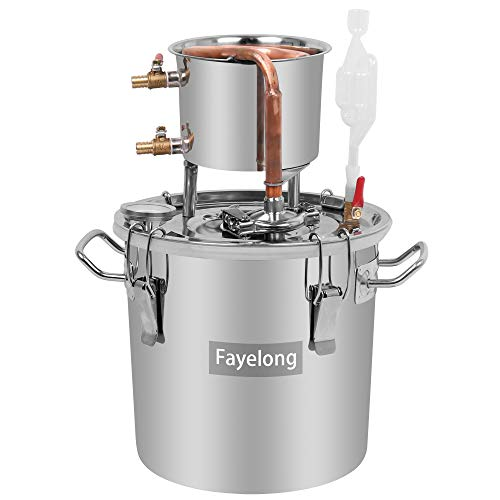 Kit de destilación Moonshine para 12 l; hervidor de acero con tubos de cobre para elaboración casera de vino, etanol, cerveza o destilación de agua