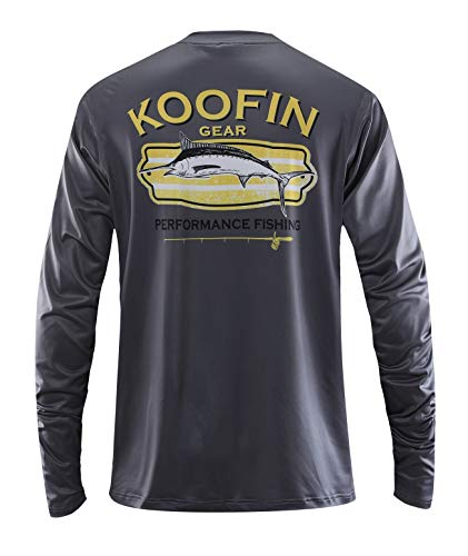 Performance Fishing Shirt Sun Protection Shirt UPF50 Outdoor Long Sleeve, Charcoal- X-Large