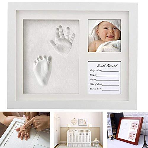 HAOAYOU Bilderrahmen 3 Teile hölzerne Babypflege ungiftig Baby Fotorahmen DIY Handabdruck Footprint Impressum Kit Baby Souvenirs 12inch