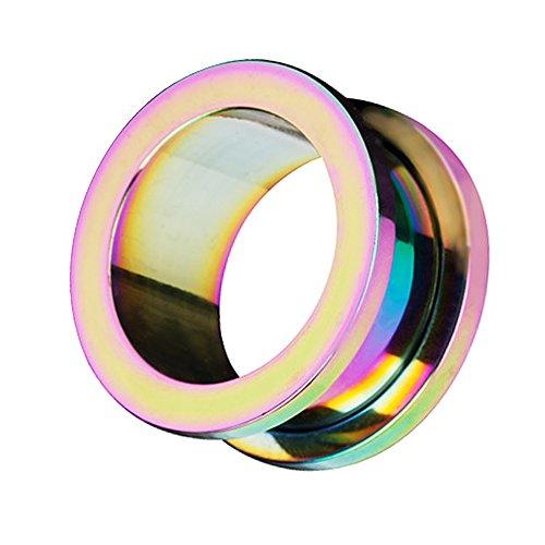 Taffstyle Túnel dilatador para la oreja, de acero inoxidable, con cierre de rosca, 6 mm, arcoíris