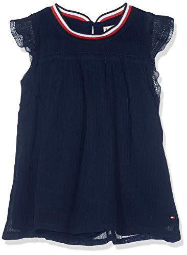 Tommy Hilfiger Baby-Mädchen Sporty SOLID Crepe S/S Top, Blau (Black Iris 002), (Herstellergröße: 86)