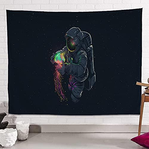 KHKJ Tapiz de Astronauta y arcoíris Mandala Hippie Tapiz de Encaje Tapiz Decorativo Bohemio para Colgar en la Pared Mural Decorativo de la NASA A9 200x180cm