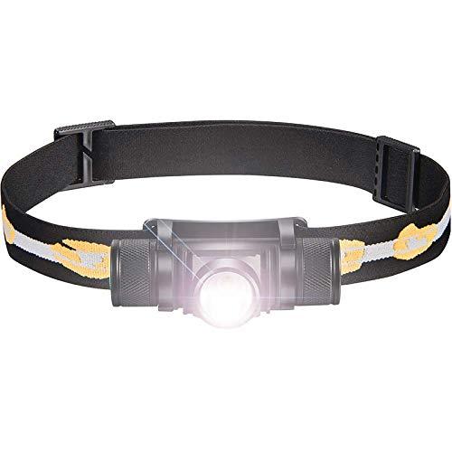 ALFLASH Linterna Frontal LED CREE Recargable Impermeable Súper Brillante USB Linterna Frontal Liviana 5 Modos Linterna para Ciclismo Correr Acampar Senderismo Pesca (Single)