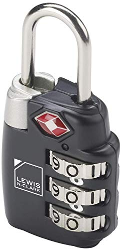 Lewis N. Clark Travel Sentry TSA-Approved Luggage Lock, Large 3 Dial Combination with Easy Read Dials - Black