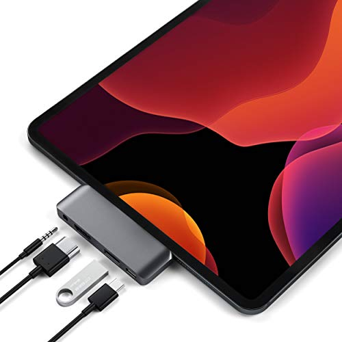 SATECHI Aluminum Type-C Mobile Pro Hub Adapter met USB-C PD Charging, 4K HDMI, USB 3.0 & 3,5mm Koptelefoonaansluiting – Compatibel met 2018 iPad Pro, Microsoft Surface Go en meer (Ruimtegrijs)