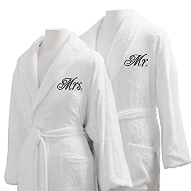 Luxor Linens Terry Cloth Bathrobes Egyptian Cotton Mr. and Mrs. Bathrobe Set Luxurious, Soft, Plush Durable Set of Robes