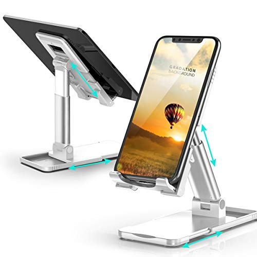 Damipow Cell Phone Stand, Angle Height Adjustable Phone Holder for Desk, Extensible Base and Non-Slip Silicone Compatible with All 4-13' Devices, iPhone, Samsung, Pixel, iPad, Tablet, Kindle - White