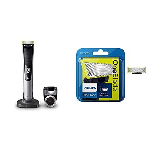 Philips OneBlade Pro QP6520/30 Recortador de barba con peine de precisión de 14 longitudes y base de carga, recorta, perfila y afeita, recargable + 1 Cuchilla de recambio
