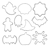Obelunrp Molde de Galletas de Halloween Acero Inoxidable DIY Craft Fondant Bizcocho Kit de Molde 10 unids, moldes de Halloween