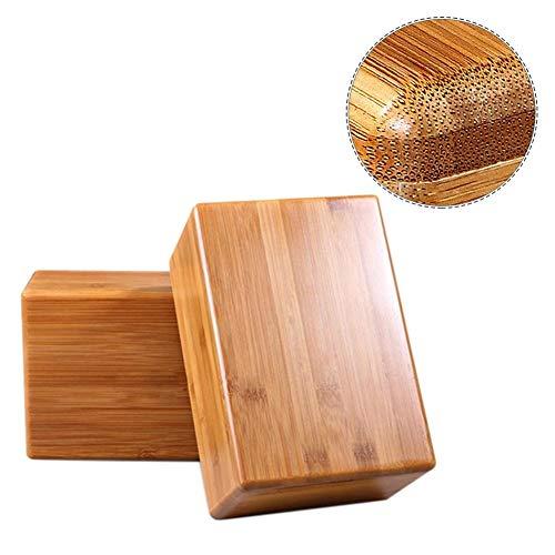 MezoJaoie Bloque de yoga, paquete de 2 bloques de yoga de bambú, soporte de bambú antideslizante Yoga Brick Fitness Workout para yoga, pilates, fuerza, equilibrio