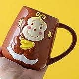 HRDZ Tazza da caffè Carina Scimmia Dipinta a Mano personalità Creativa Tazza di Tendenza Tazza in Ceramica con Cucchiaio Coperchio