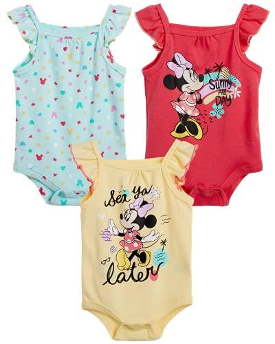 Disney Body sin mangas con volantes, paquete de 3 unidades, para bebés y niñas, Minnie Mouse y la sirenita - - 0-3 meses