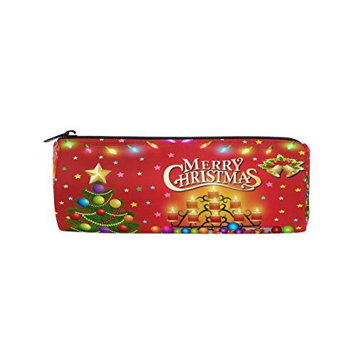 Ahomy Federmäppchen, Weihnachtsbaum, Kamin, Kerzen, Reißverschluss, Bleistifttasche für Teenager Mädchen und Jungen, Reise-Make-up-Tasche für Frauen