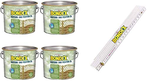 Bondex BigPack XL 4x Teak Öl Teak 2,50l 330059 + 1 x Bondex Zollstock