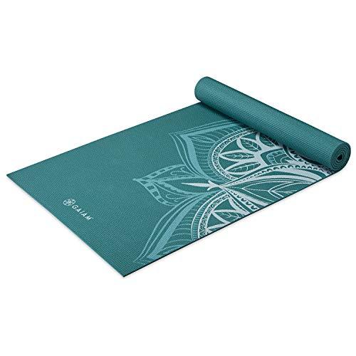Gaiam Yogamatte, Premium-Druck, rutschfest, für alle Arten von Yoga, Pilates und Bodentraining, Tieffrost-Punkt, 5 mm