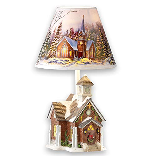 Winter Church and Forest Scene Accent Lamp - Seasonal Decorative Light for Any Room in Home