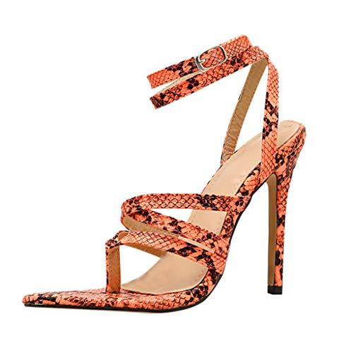 Best Price Sumen Women Snakeskin Open Toe Shoes Cross Cutout Stiletto Fine Heel Roman Sandals Orange