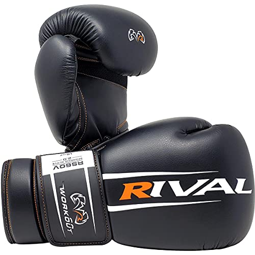 RIVAL Boxing Workout Hook and Loop Sparring Gloves - 18 oz - Black