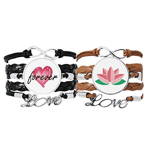 DIYthinker Flor Planta Lotus Leaf Pulsera de flor de loto Correa de mano Cuerda de cuero Forever Love Wristband Set doble