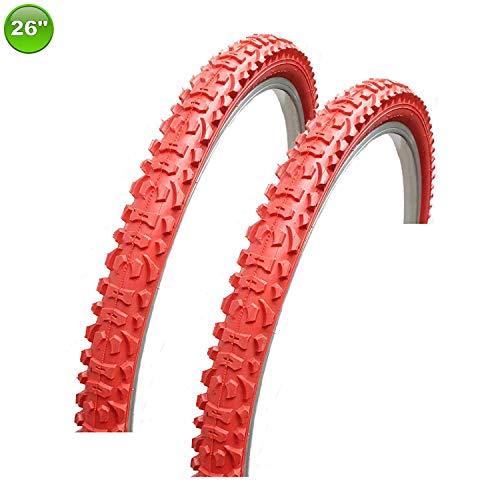 2 X Maxxi4you Neumático de la Bicicleta Abrigo Cubierta 26 X 1.95-54-559 Rojo