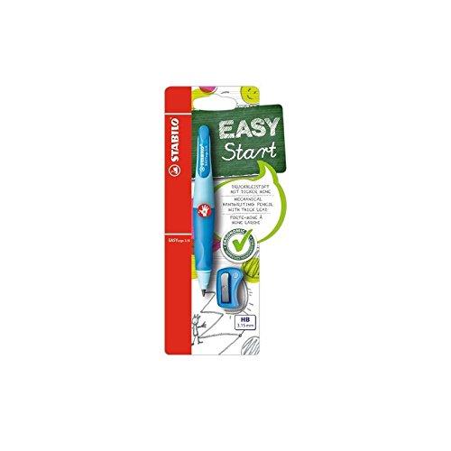 Ergonomischer Druck-Bleistift für Rechtshänder - STABILO EASYergo 3.15 in hellblau/dunkelblau - inklusive 1 dicken Mine - Härtegrad HB & Spitzer - inklusive 1x 6er Pack Nachfüllminen