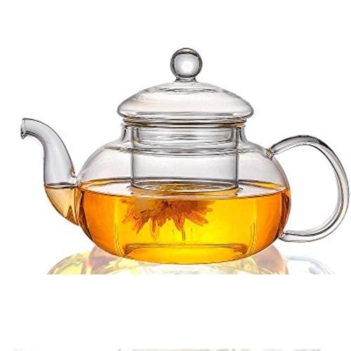 All Ready Elegant Glass Tea Set Borosilicaatglas Theepot met Koppen Bamboe Thee Tray Tea SetKettle Warmer Glas theepot, 1000ml Theepot LMMS (Color : 1000ml Tea Pot, Size : -)