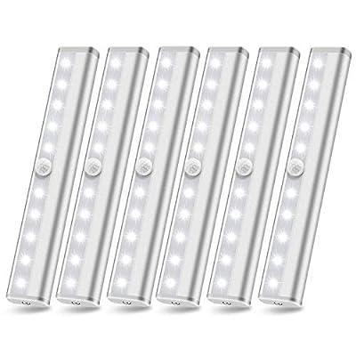 Motion Sensor Closet Lights Battery Powered Lights, Led Under Cabinet Lighting, Wireless Under Counter Light, Stick On Lights, Safe Night Light Bar for Stairs Hallway Kitchen, White 6000K 6 Pack