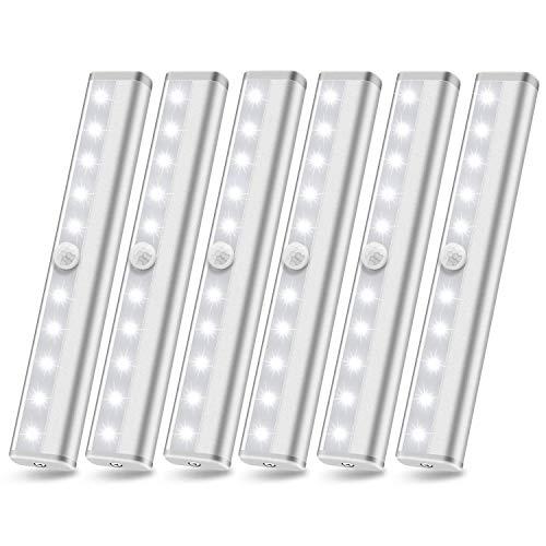 Motion Sensor Closet Lights, 10 Led Battery Powered Lights Led Under Cabinet Lighting Wireless Under Counter Light, Stick On Lights Motion Night Light Bar for Stairs Hallway Kitchen, White 6 Pack