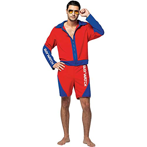 Mens New Baywatch Lifeguard Movie Costume, Red and Blue