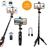 Bluehorn All in one Portable 40 Inch Aluminum Alloy Selfie Stick Phone Tripod with Wireles...