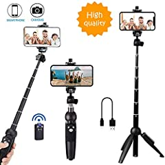 【Upgraded All-in-one Design】: Selfie Stick and Tripod in 1. Made of Aluminum alloy construction supporting Stands, corrosion resistance, it will not rust. More fasion,more convenient , More for peerless durability. 【EXTENDABLE & FOLDABLE】Extendable l...