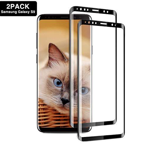 Aonsen - Pellicola Protettiva in Vetro temperato per Samsung Galaxy S9, 2 Pezzi, durezza 9H, Anti-graffio (Nero)