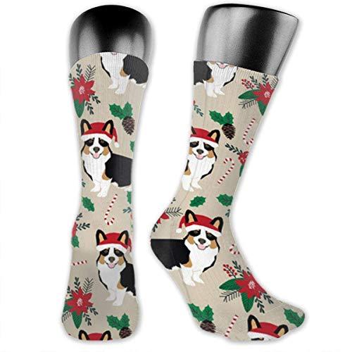 Poinsettia Dogs - Calcetines de poliéster para hombre y mujer, 8 x 40 cm, para niños y niñas, escuela, senderismo, al aire libre, cómodo, calcetines deportivos, calcetines