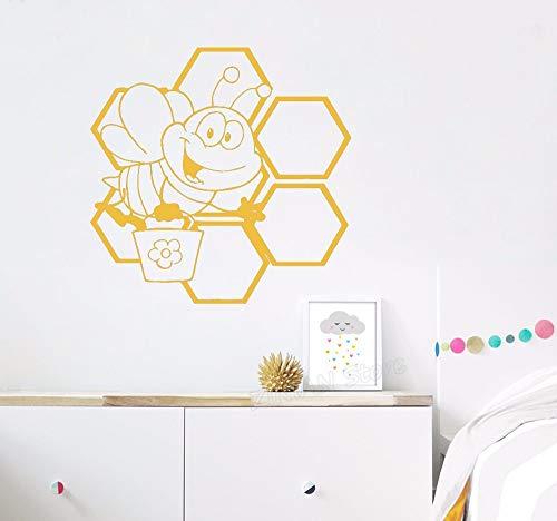 Hanjiming Mignon Abeille Miel Nid D'Abeille Aile Pépinière Vinyle Stickers Muraux Pour Chambres D'Enfants Motif Art Décor Wall Decal Animaux Home Décorer