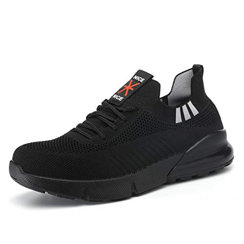 Ulogu Sicherheitsschuhe Herren Arbeitsschuhe Damen Leicht Atmungsaktiv Schutzschuhe Stahlkappe Sneaker Wanderschuhe 41 EU Black