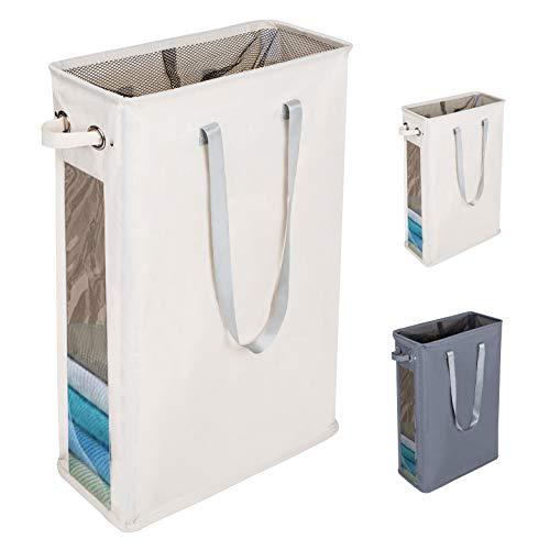 DOKEHOM 24-Inches Cestos para la Colada, Gran Servicio de lavandería, Plegable Bolsa de Lavado de Ropa Bin (Beige)