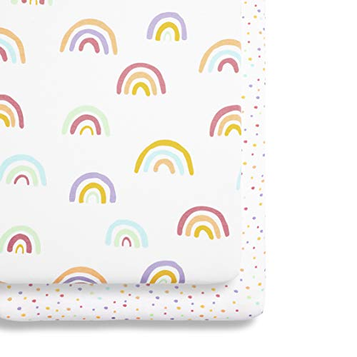 Snuz Bedside Crib Fitted Sheets, Rainbow, Multi-Colour, 280 g