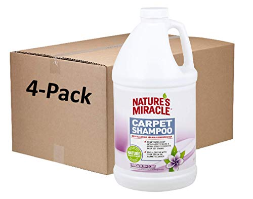 Nature's Miracle Carpet Shampoo 64 Ounces, Deep-Cleaning Stain and Odor Remover, Tropical Bloom Scent, Pack of 4