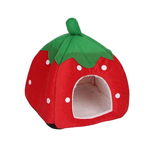 Katzenhöhle von Autone in Erdbeer-Form, weicher Schaumstoff, Höhle für Katzen, Hunde und kleine Haustiere, rot, M