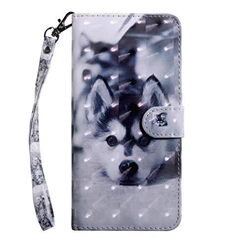vingarshern Hülle für Wileyfox Storm Schutzhülle Tasche Etui Klappbares Magnetverschluss Flip Case Lederhülle Handytasche Wileyfox Storm Hülle Leder Brieftasche(Husky) MEHRWEG