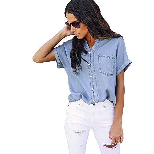camicia donna jeans estiva XWANG Camicia in jeans da donna