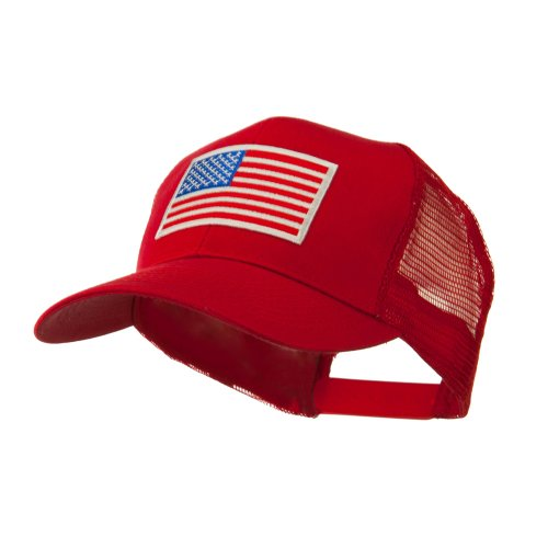 6 Panel Mesh American Flag White Patch Cap (One Size, Red)