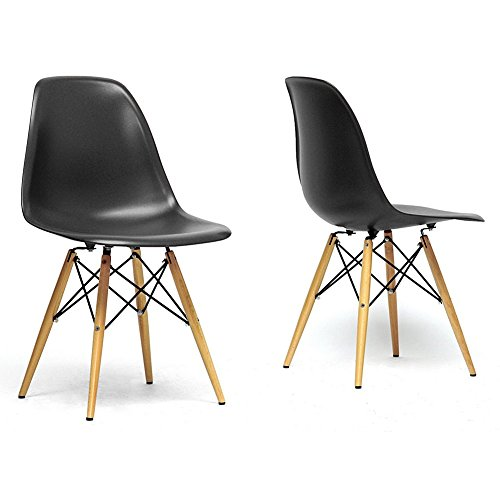 Retro Shell Chairs in Taupe, Set of 2