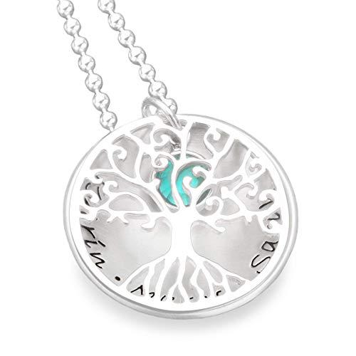 Lebensbaum Kette Namenskette Silber 925 TREE OF LOVE Crystal Silberkette mit Gravur Familienschmuck