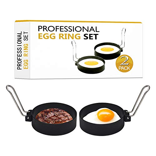 2 Pack Egg Rings, Professional Stainless Steel Non-Stick Round Egg Cooker Rings for Cooking,Egg...