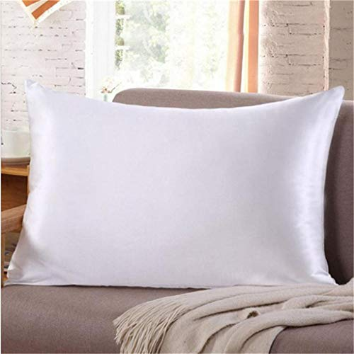 Weisfe78 Ice Silk Pillowcase Solid Color Simulation Silk Single Pillowcase White for Hair and Skin Luxury Silk Satin King Size Pillow Cases Hypoallergenic Silk Pillowcase Best Sleep - 15.7 x 27.6 inch