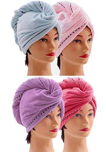 Microfiber Hair Towel Wrap for Women [4 Pack] Turban Twist Head Towel with Button, Quick Dry Super Absorbent for Long & Curly Hair, Anti-Frizz - (Blue & Pink & Purple & Red)